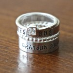 name stackable rings- beaded cz ring