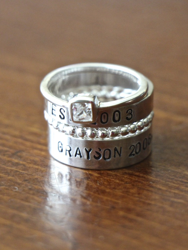 Hand Stamped Stackable Rings