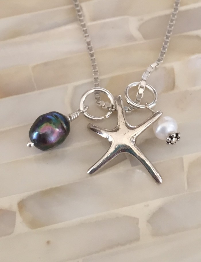 starfish Tahitian pearl beach necklace