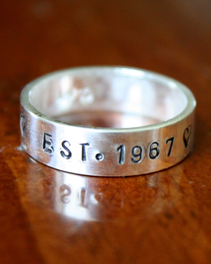 Anniversary Date Name Ring- Thick Band