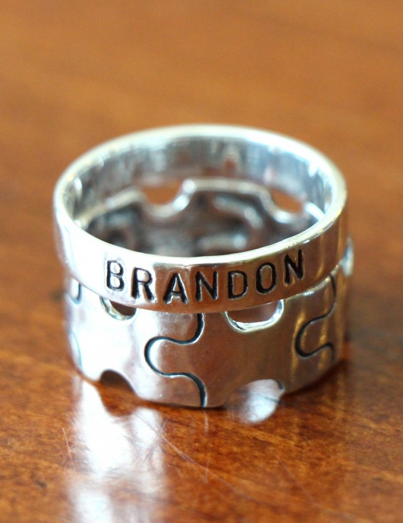 Autism Puzzle PIece Stackable Name Ring Set