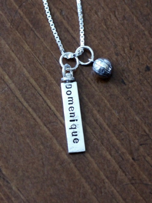 Basketball player Name necklace wife coach gift