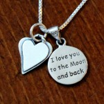 Heart love you to moon and back necklace