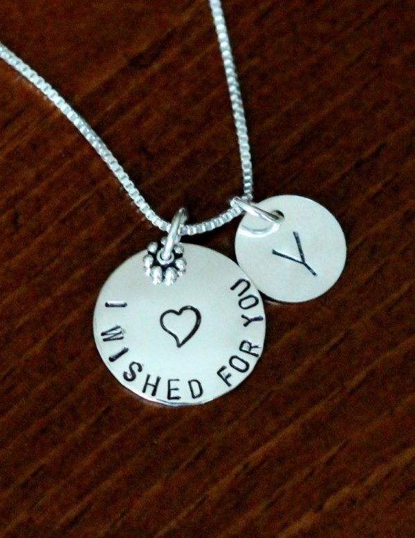 I wished for you intial necklace