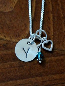 Initial birthstone tiny heart necklace