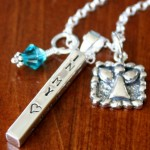Memorial bar angel necklace- I carry your heart in my heart