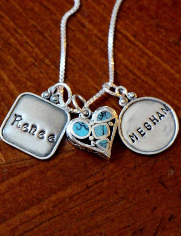 Turquoise Heart Two Name Necklace Kandsimpressions
