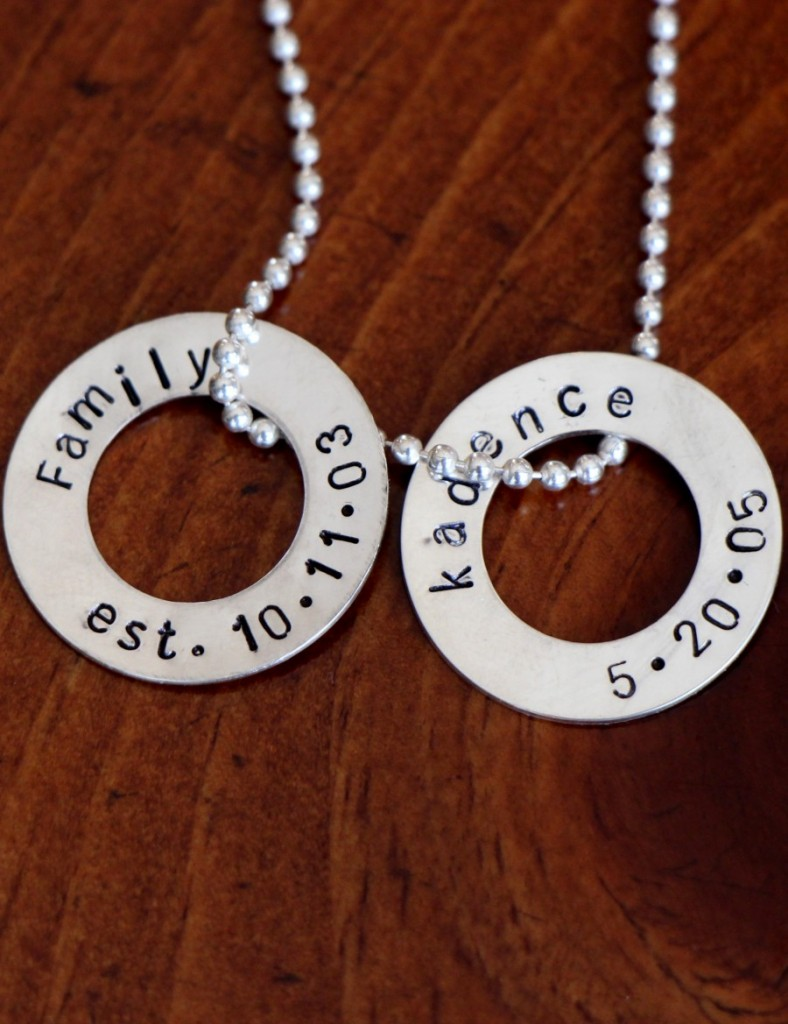 Personalized Washer Necklace Name Date Kandsimpressions