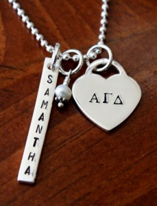 Name Greek Heart Bar Necklace- Sisterhood Jewelry