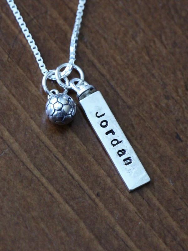 Soccer player name necklace