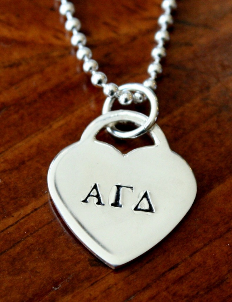 Greek letters heart charm necklace kandsimpressions for Sorority necklaces letters