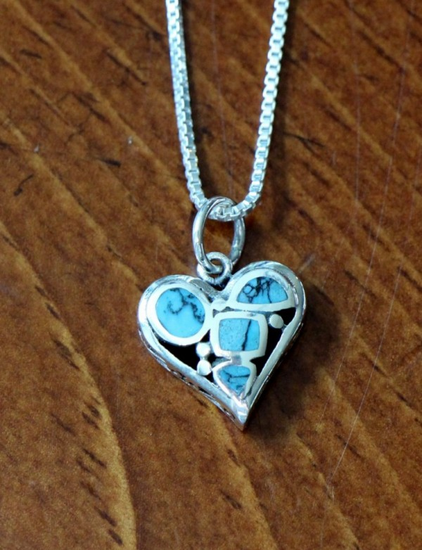 Turquoise Heart Necklace Sterling Silver Kandsimpressions