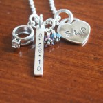 Wedding Initial Date Heart Necklace