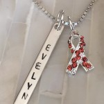 orange ribbon kidney awareness name necklace