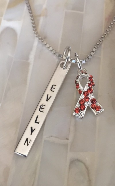 leukemia and kidney cancer necklace orange awareness name necklace