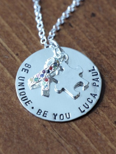 Autism Necklace Personalized Be Unique Kandsimpressions