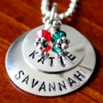 Layered Name Necklace- Birthstone
