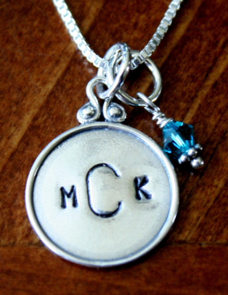Monogram Necklace- Raised rim circle birthstone