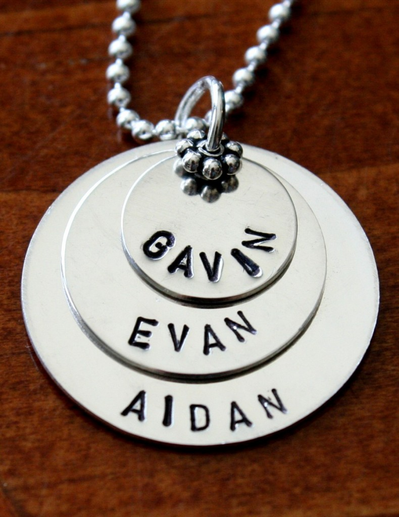 mom of three name necklace- Layers Of Love Mothers Necklace