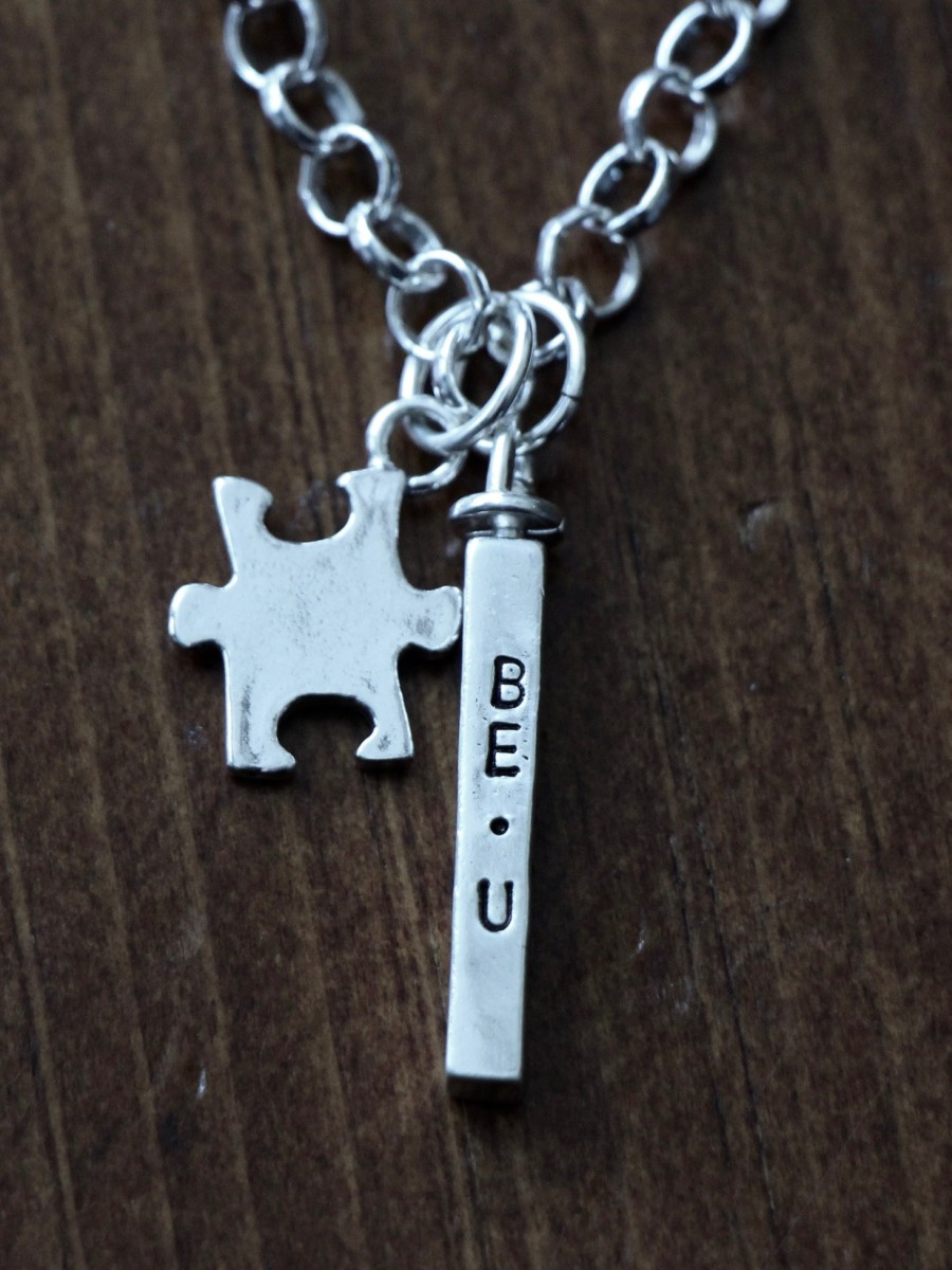 Autism four sided name bar puzzle piece necklace