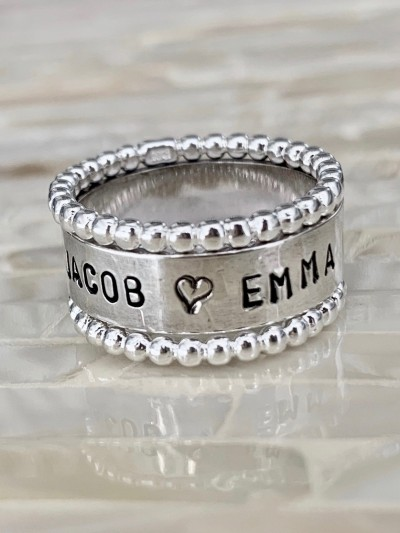 Family Name beaded ring- Sterling silver