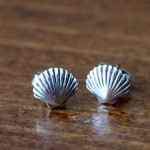 clam shell earrings beach jewelry