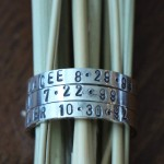 mom of three name date ring stackable