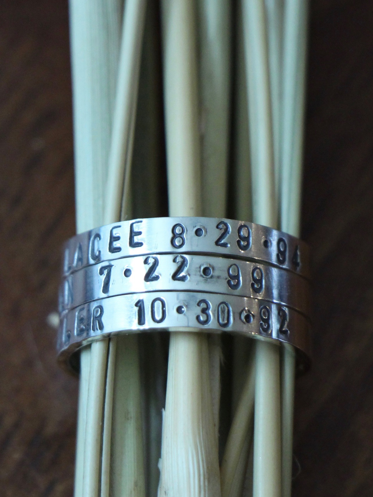 mothers name date ring stackable