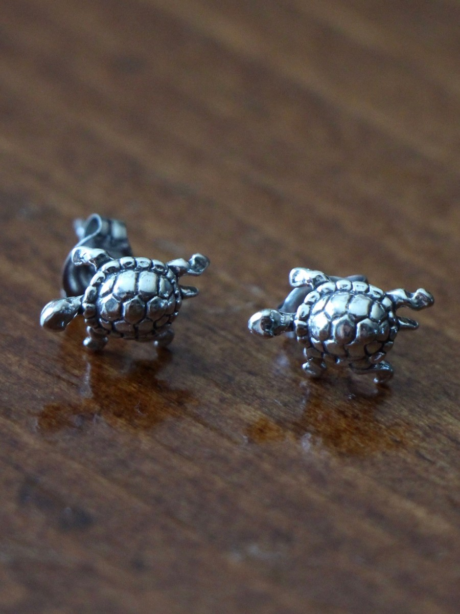Turtle Earrings Sterling Silver Kandsimpressions