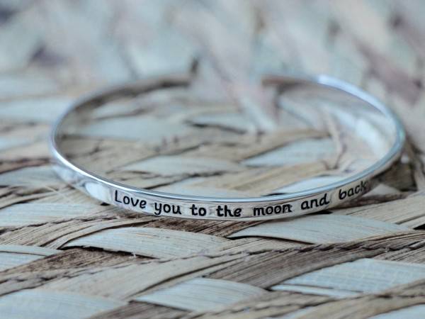 love you to the moon and back cuff bracelet- sterling silver