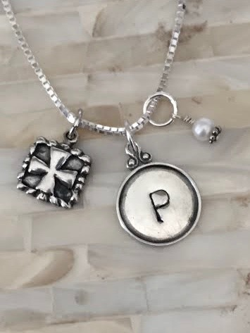 Cross Necklace Personalized Initial Name