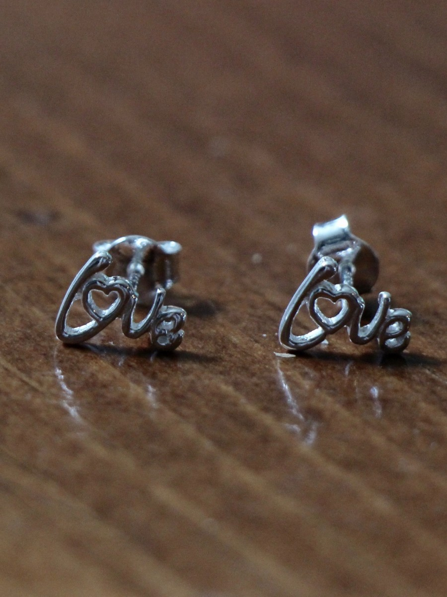 Love couples wedding anniversary stud earrings- sterling silver