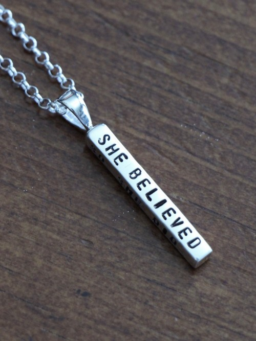 She Believed She Could So She Did Bar Necklace