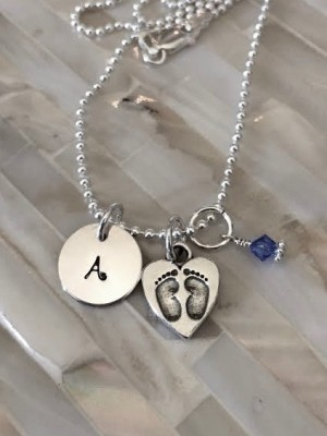 Baby footprint necklace new mom gift kandsimpressions baby footprint necklace new mom gift aloadofball Choice Image