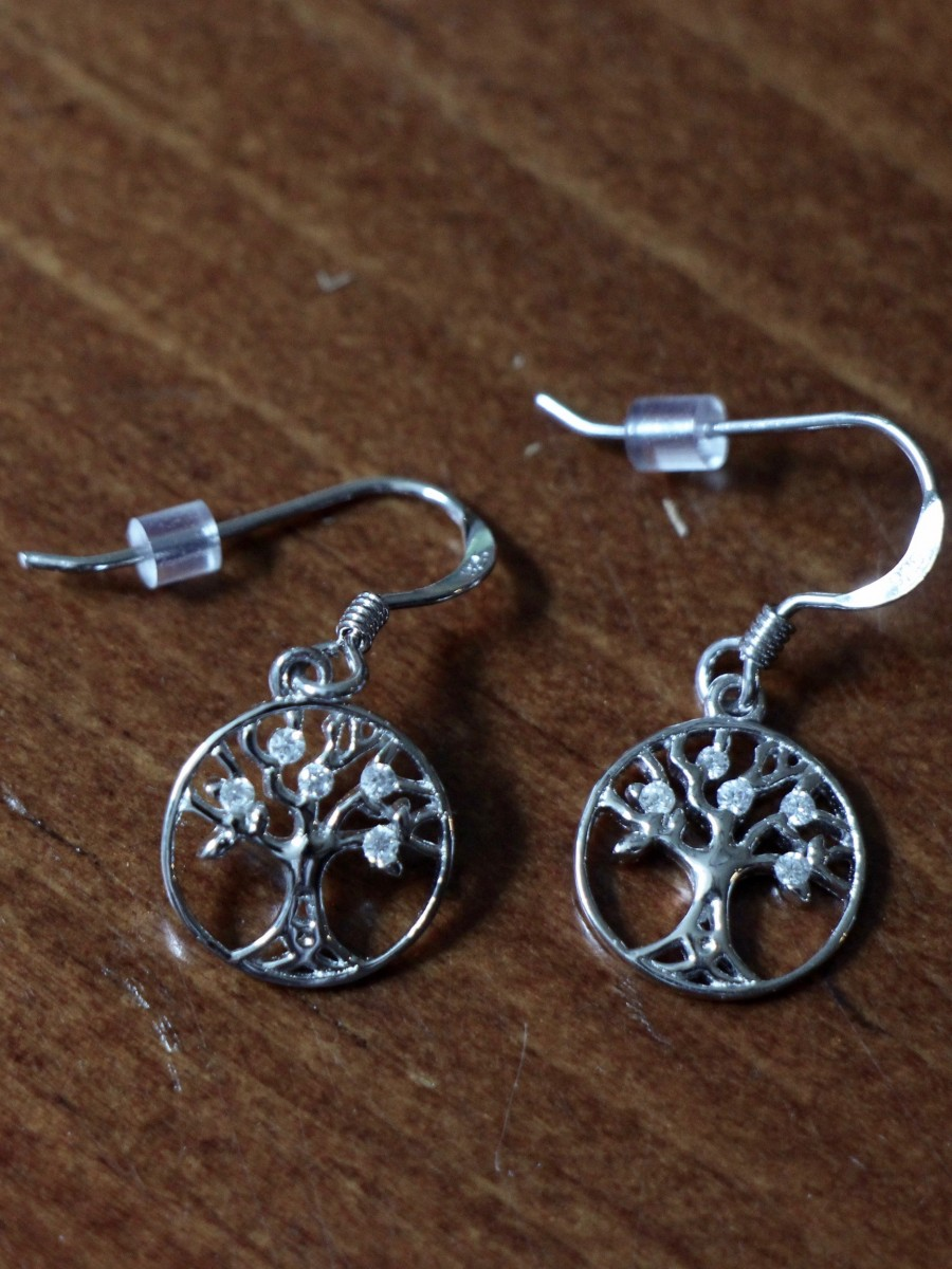 small tree of life dangle sterling silver earrings