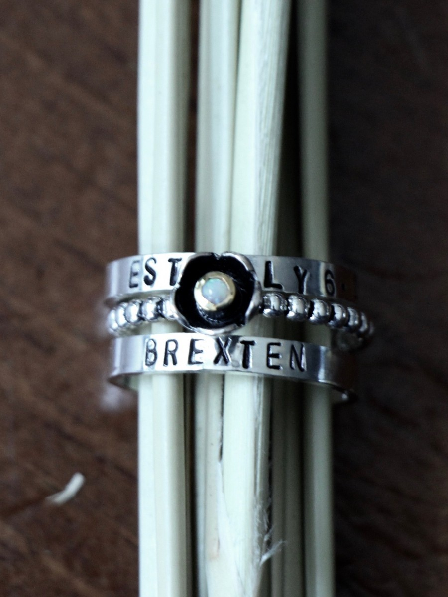 Stackable Name ring Personalized mom ring