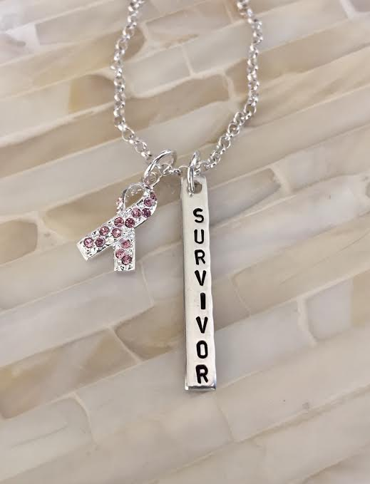 Breast Cancer Survivor Name Necklace- Pink Ribbon