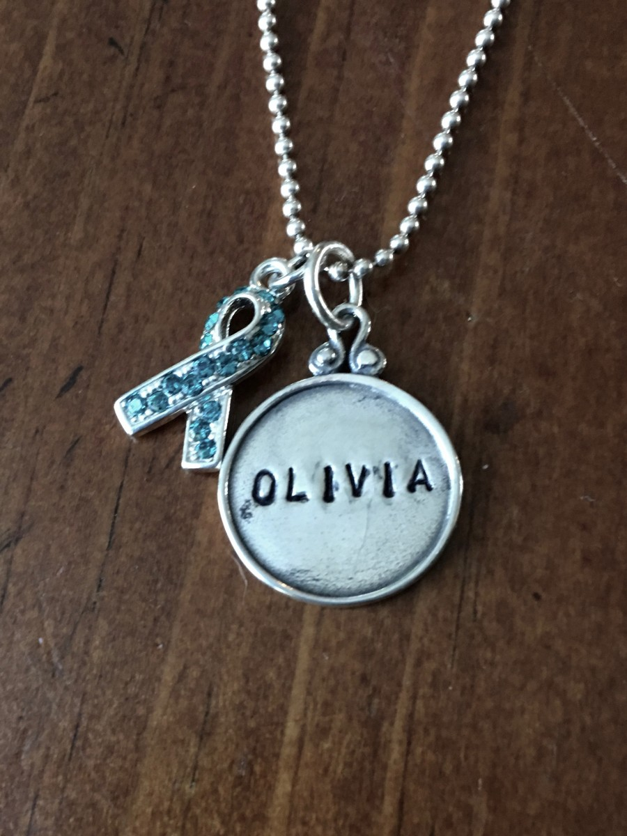 cancer awareness custom name necklace