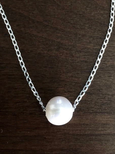 Floating Pearl Necklace Sterling Silver
