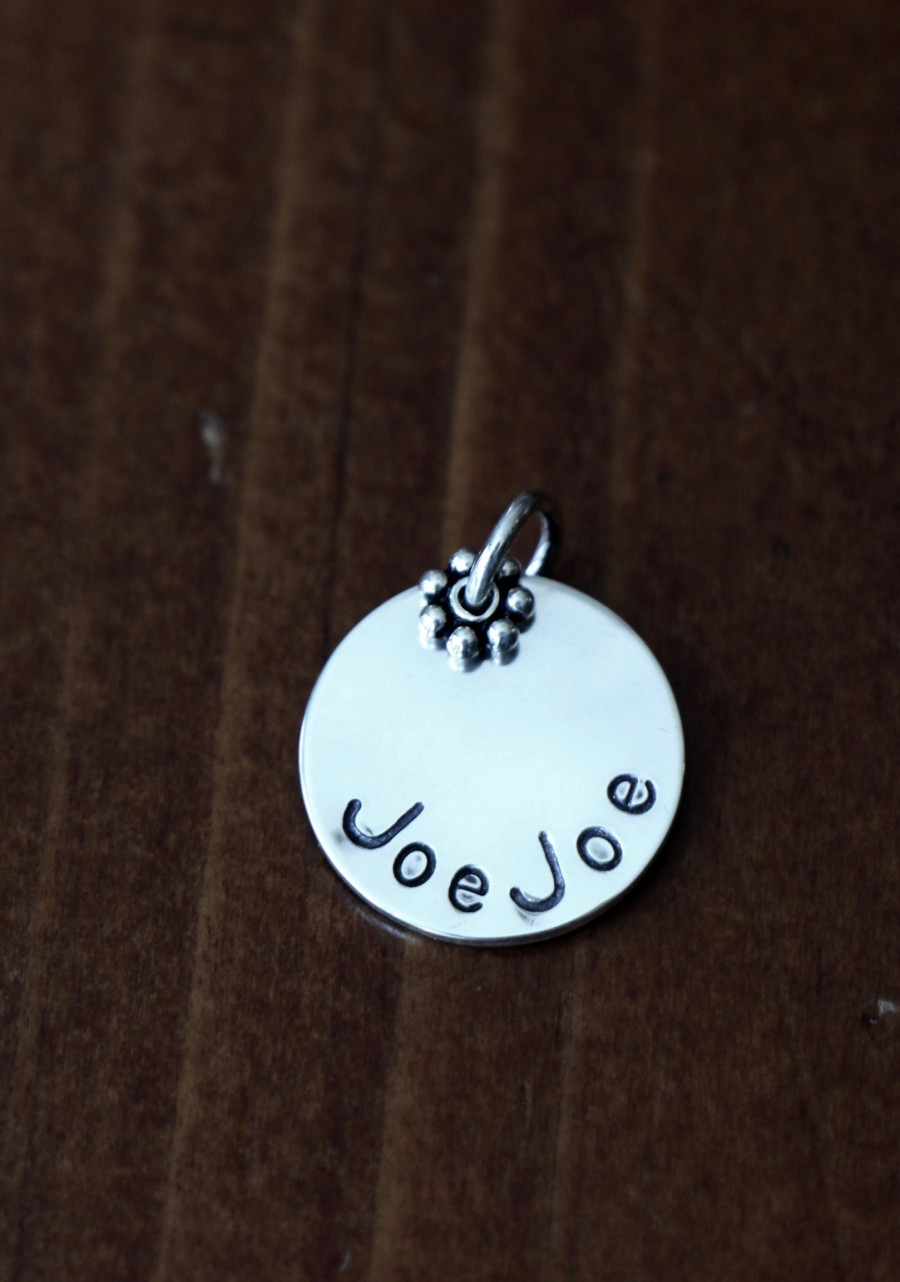 Personalized Name Charm Hand Stamped Disc Kandsimpressions