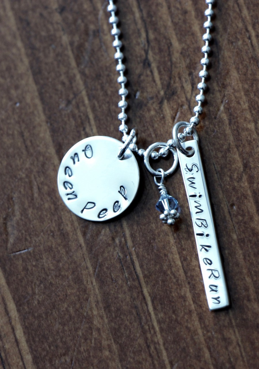 Personalized Triathlon Swim Bike Run Necklace