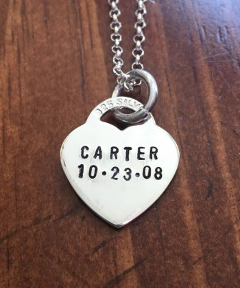 Custom kids name birthdate necklace mothers heart