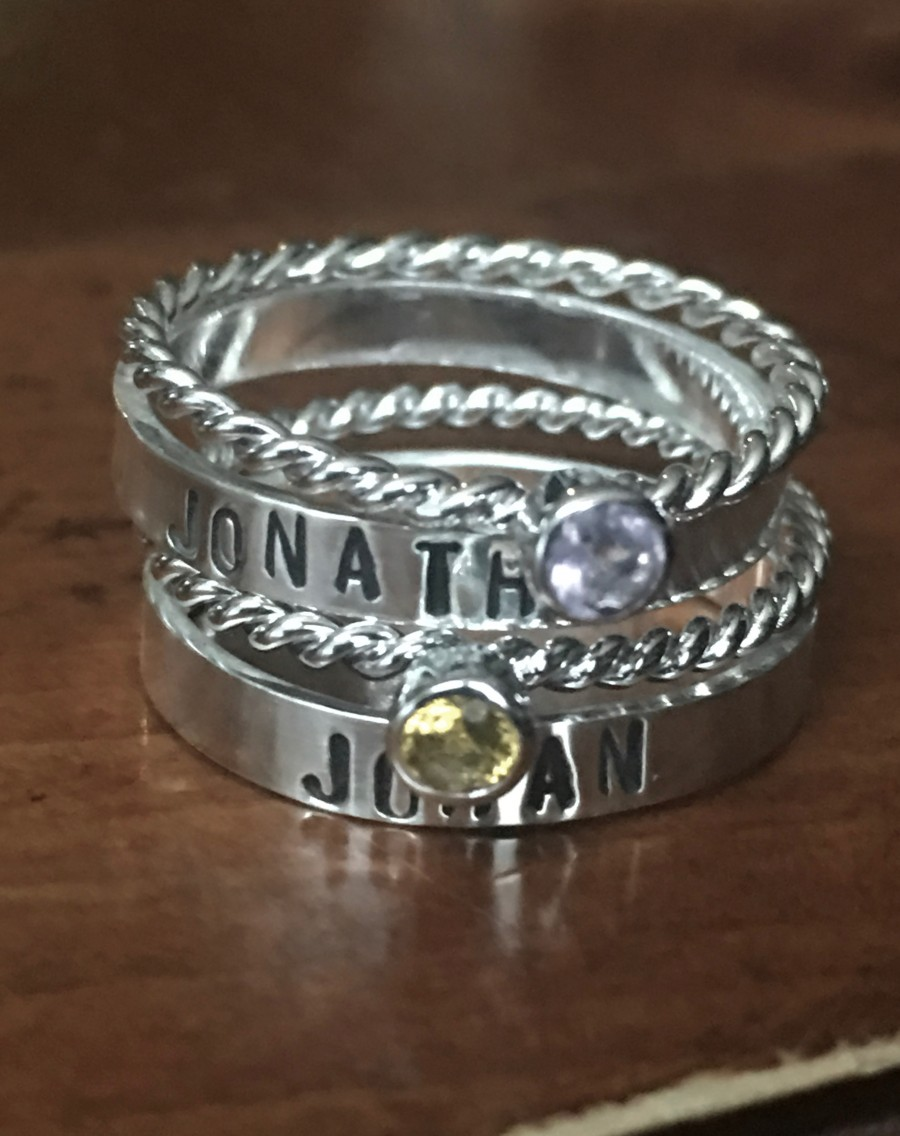 mom of two name birthstone ring