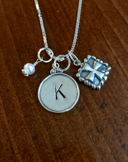 personalized cross birthstone necklace
