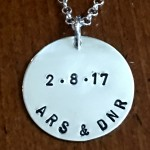Couples Initial Wedding Date Necklace- Wedding anniversary Gift