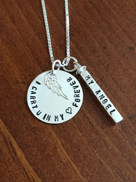 personalized remembrance necklace I Carry You in my Heart Forever