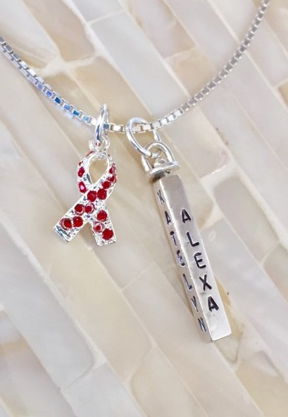 heart disease stroke red ribbon necklace