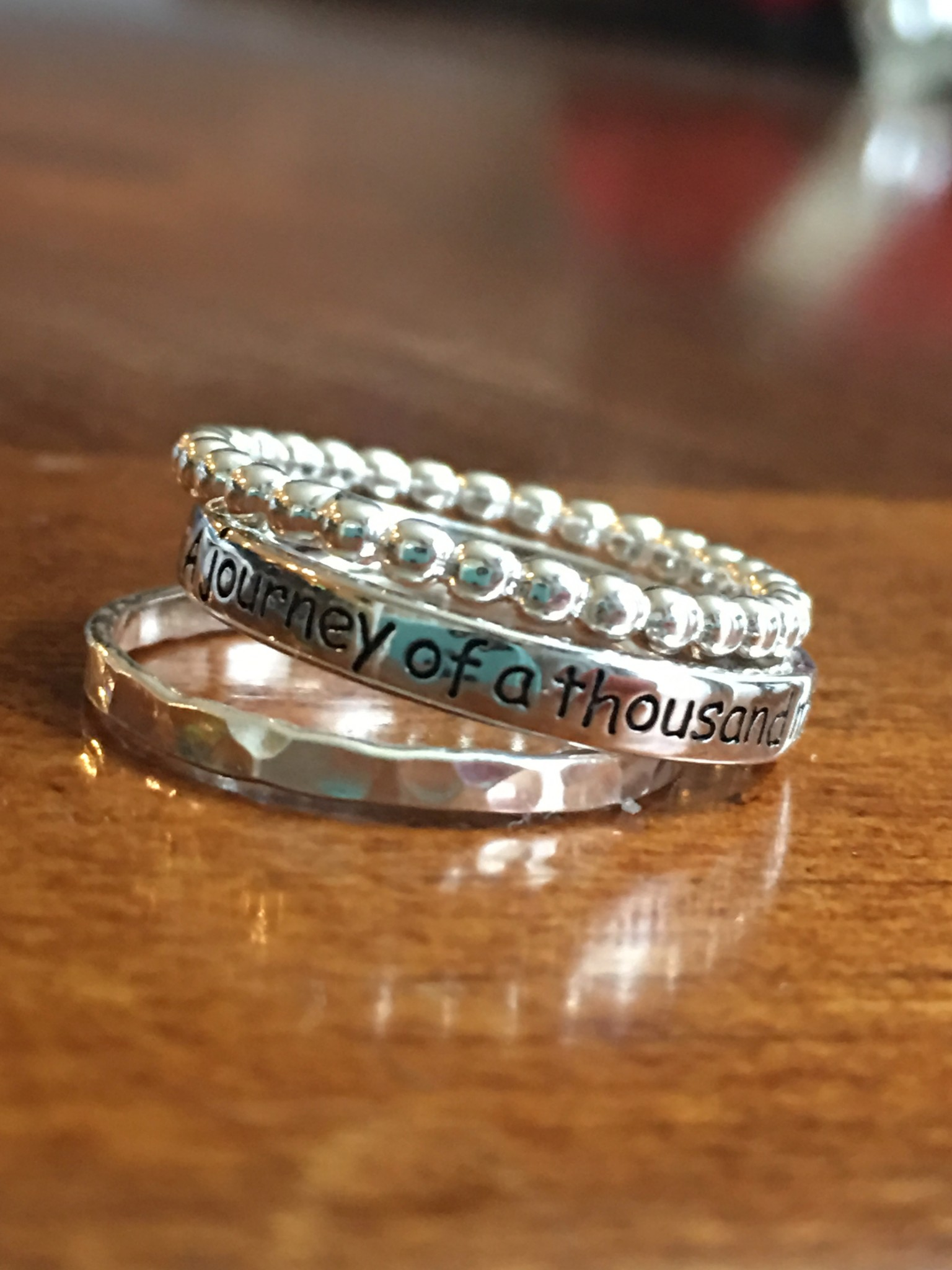 Journey of a thousand miles stacking ring set