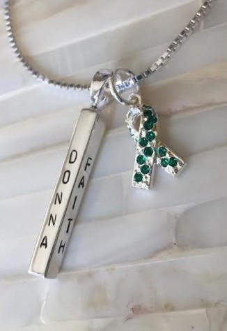 personalized liver cancer necklace green ribbon
