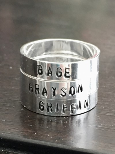 mothers kids name ring mom of three